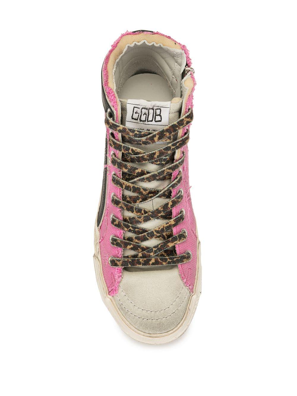 Picture of Golden Goose Deluxe Brand | Slide Slogan Print High-Top Sneakers