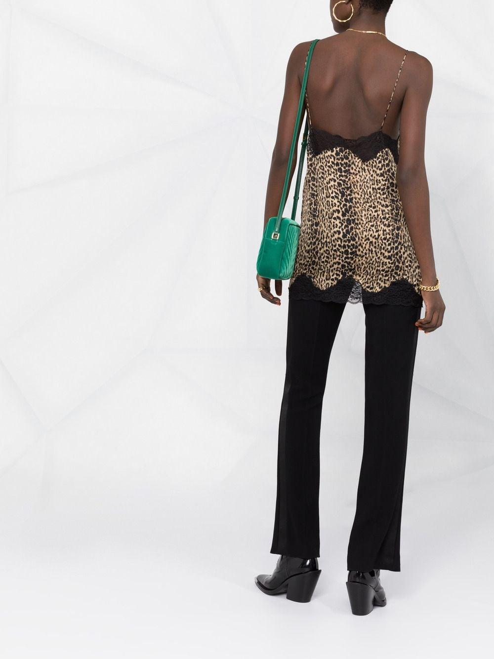 Picture of Saint Laurent | Leopard-Print Camisole Top