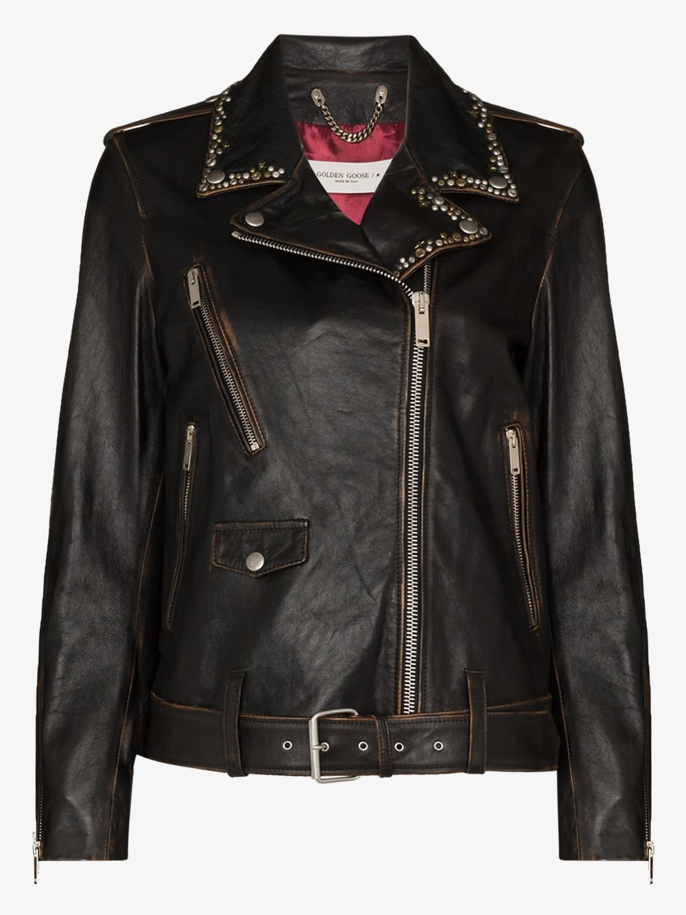 Picture of Golden Goose Deluxe Brand | Stud-Embellished Leather Biker Jacket