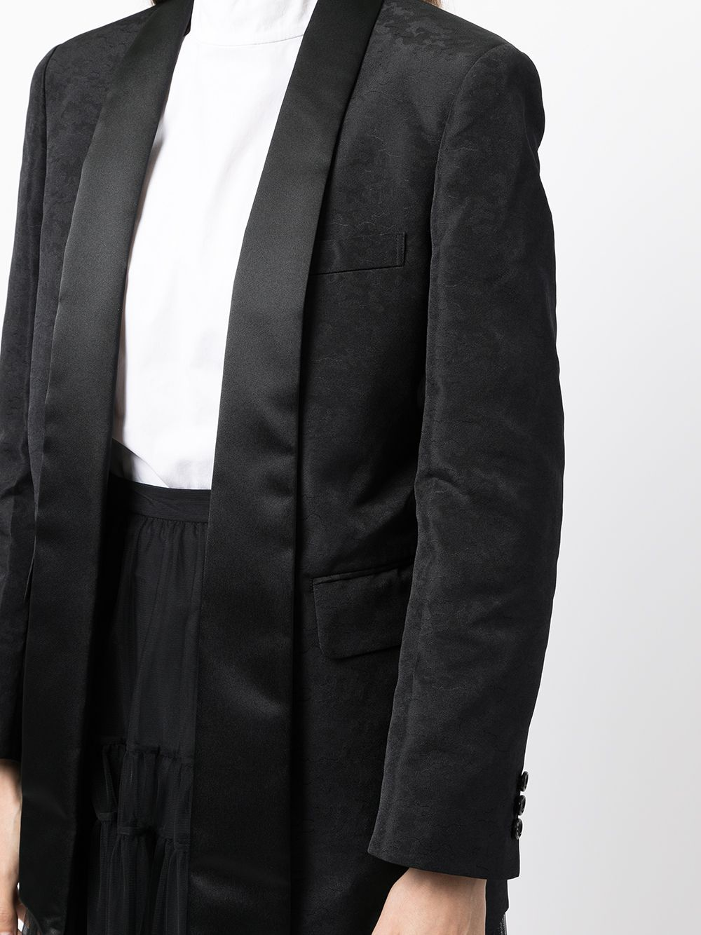 Picture of Comme Comme | Satin-Trim Single-Breasted Blazer