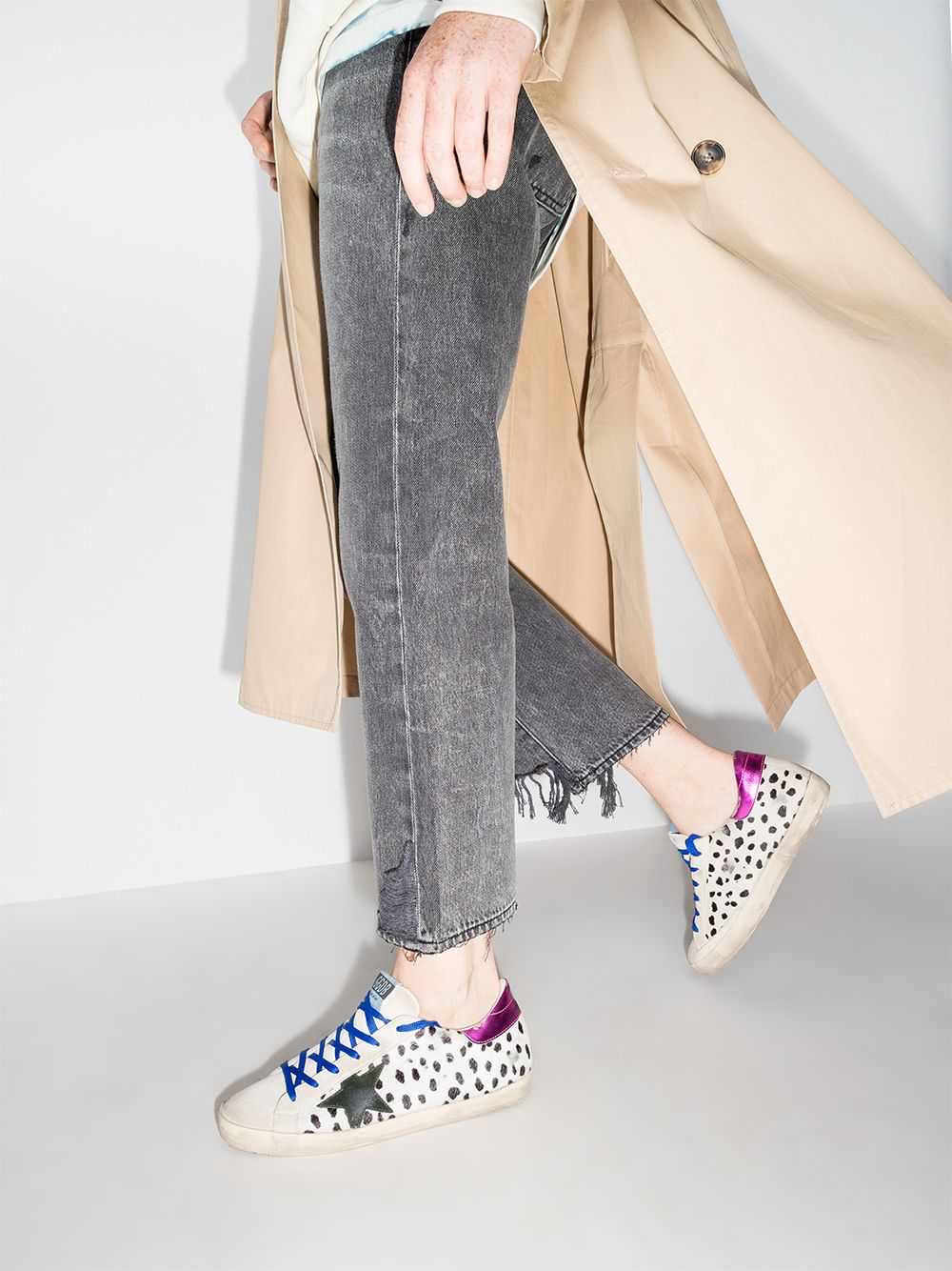 Picture of Golden Goose Deluxe Brand | Super-Star Leopard-Print Sneakers
