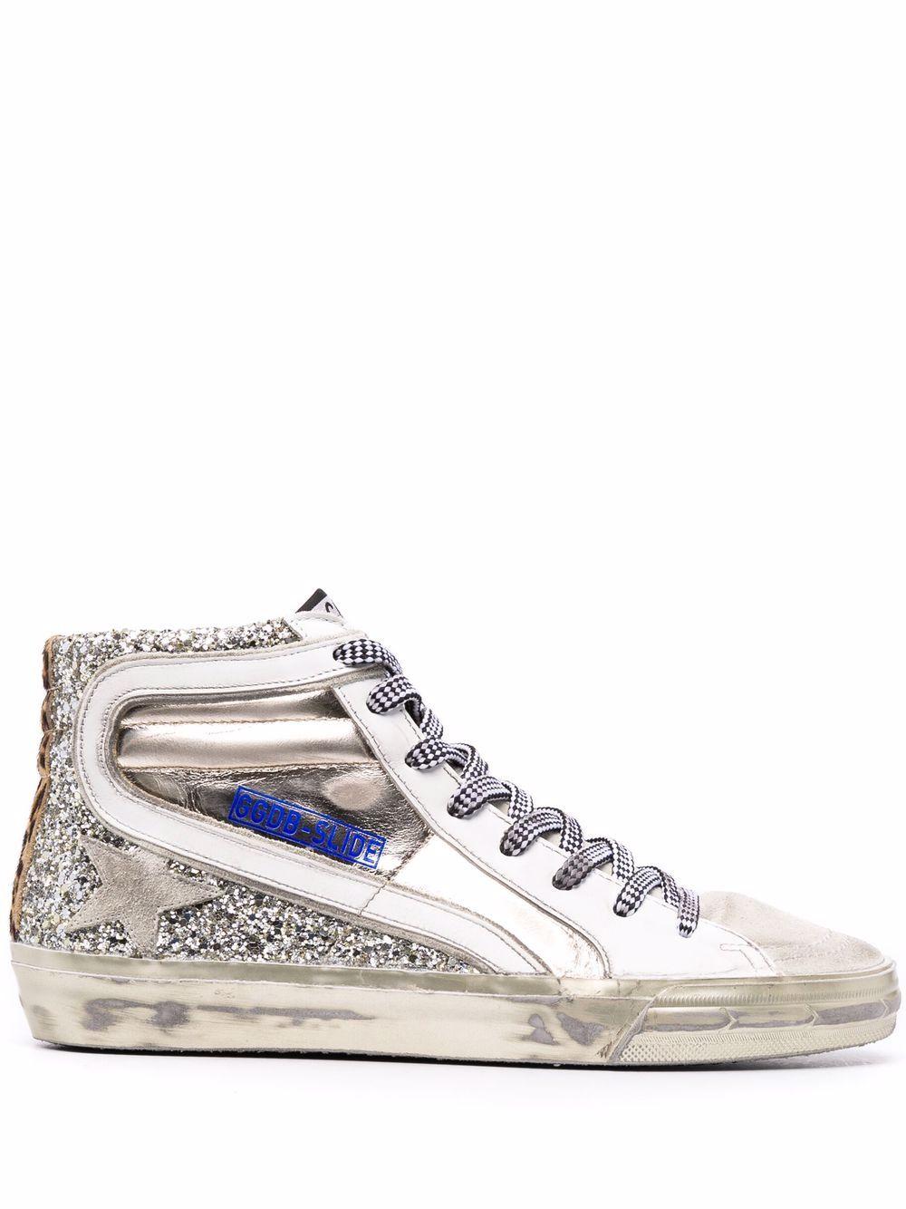 Picture of Golden Goose Deluxe Brand   Glitter Slide High Top Sneakers