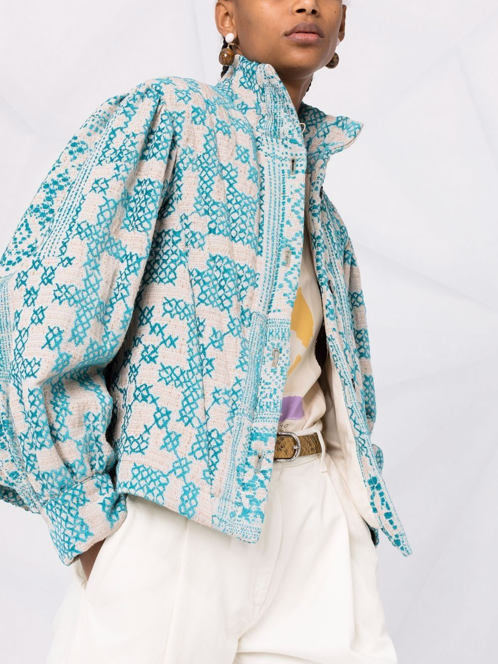 Picture of Forte_Forte   Geometric-Pattern Bomber Jacket