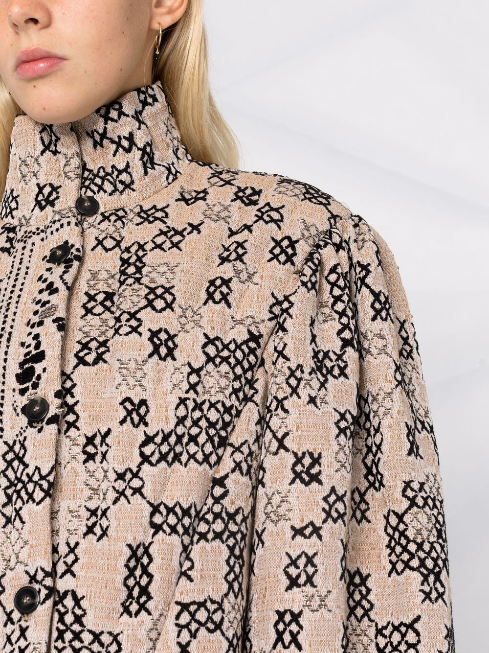 Picture of Forte_Forte | Geometric-Pattern Bomber Jacket