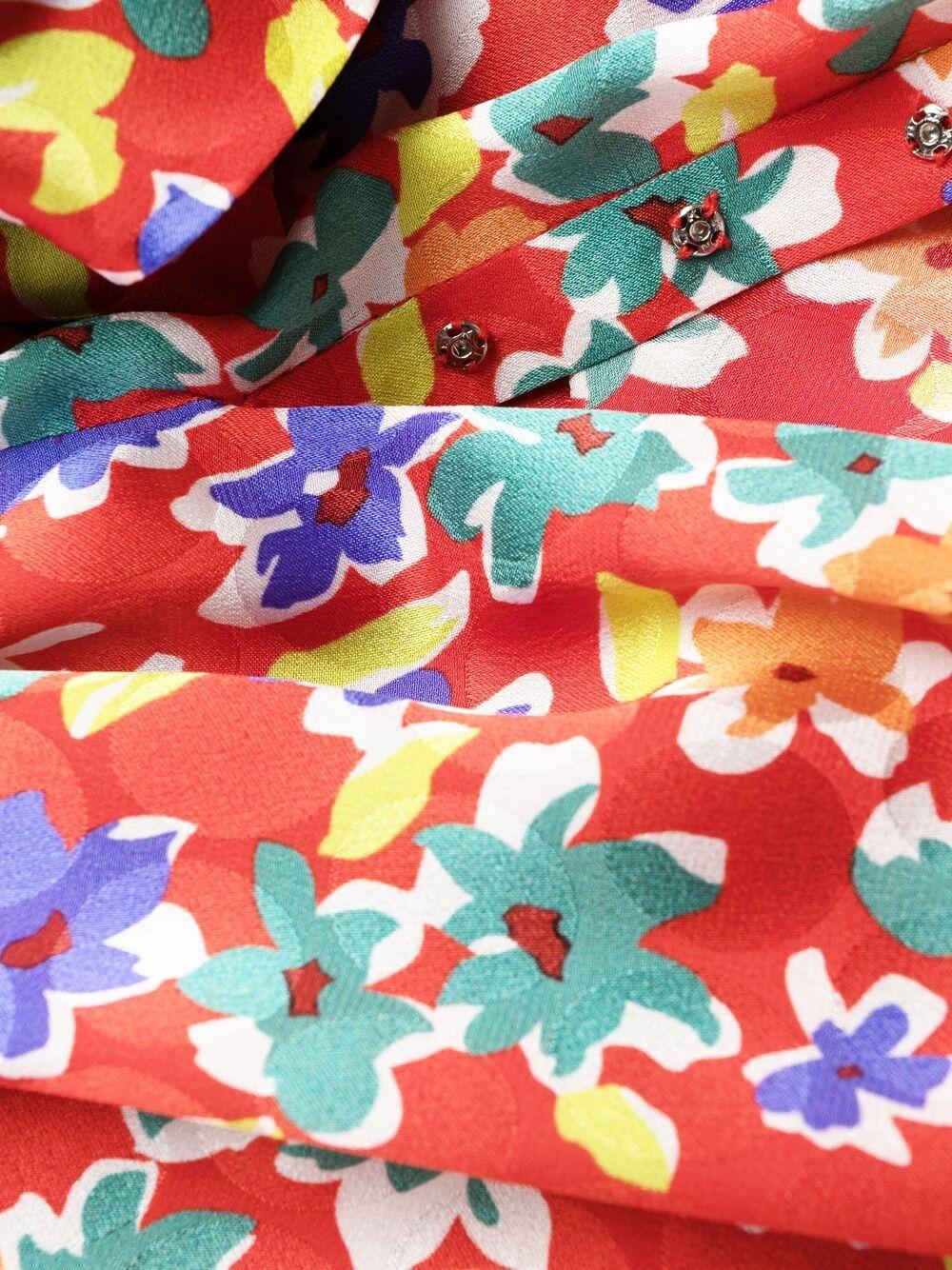 Picture of Saint Laurent | One-Shoulder Balloon-Sleeve Floral Print Dress