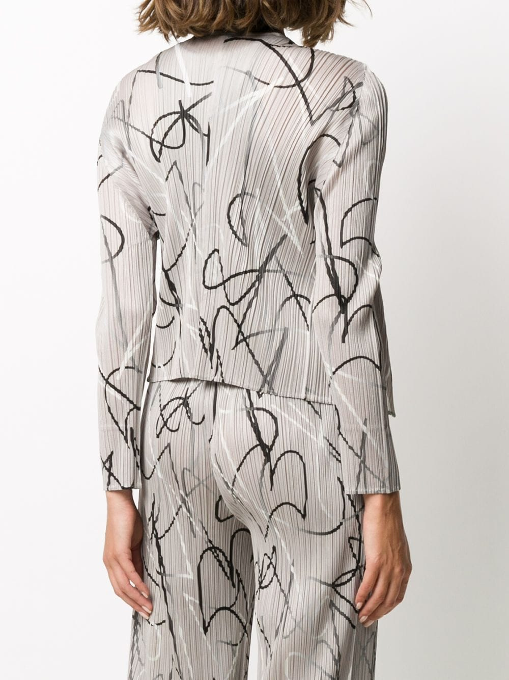 Picture of Issey Miyake Pleats Please | Pleated Abstract Print Cardigan