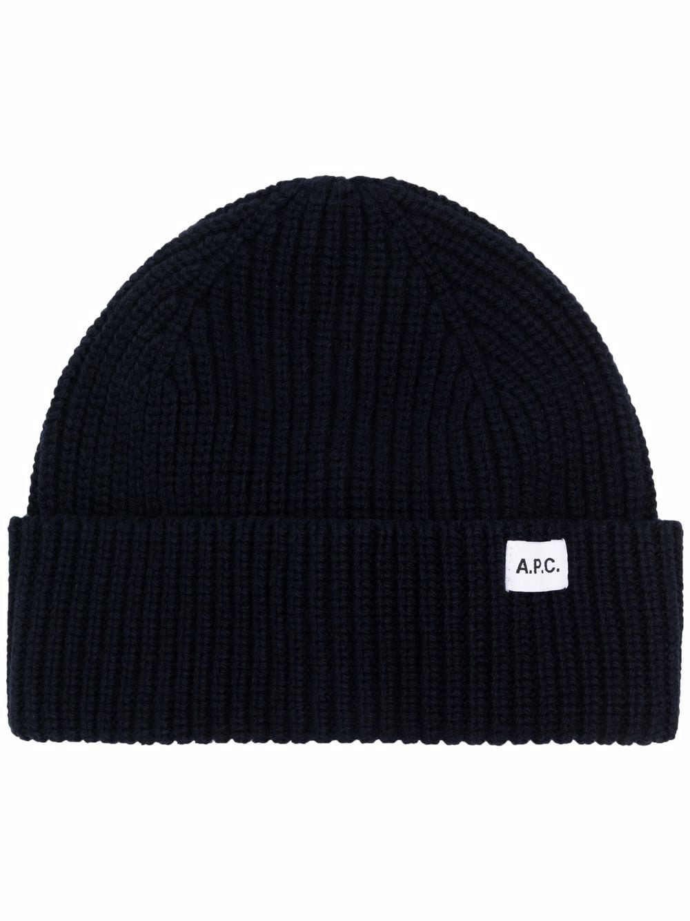 Picture of A.P.C. | Ribbed-Knit Logo Beanie