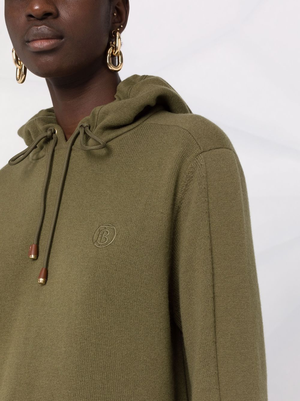 Picture of Burberry | Logo-Embroidered Knitted Hoodie