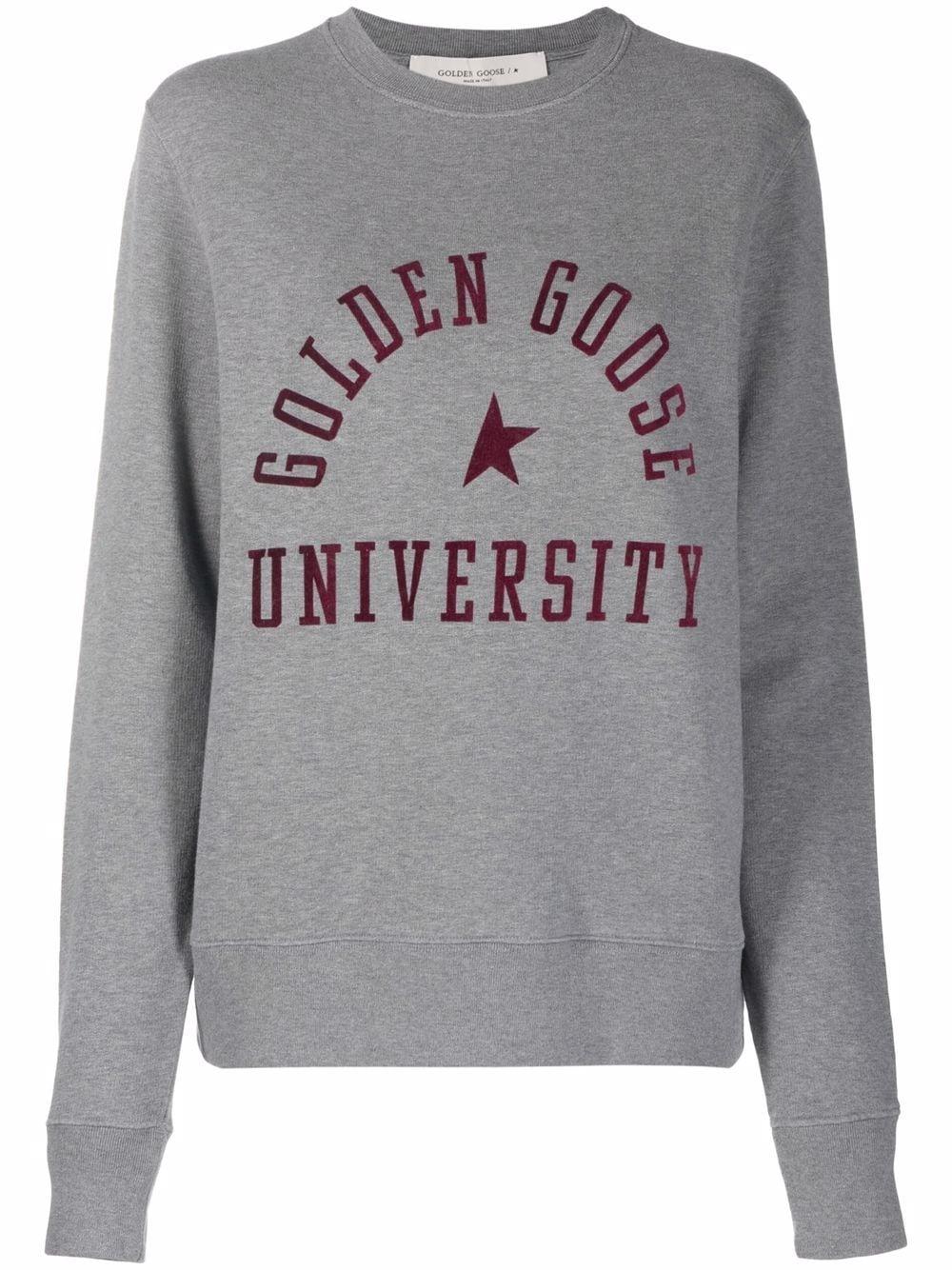 Picture of Golden Goose Deluxe Brand   Logo-Print Crew Neck Sweatshirt