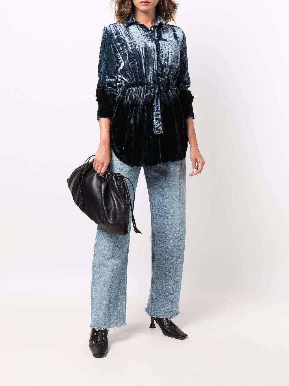 Picture of Golden Goose Deluxe Brand | Tied-Waist Velvet Shirt Jacket
