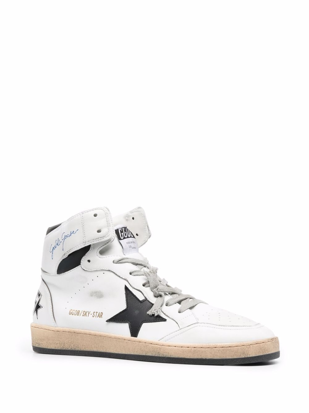Picture of Golden Goose Deluxe Brand | Sky-Star High-Top Lace-Up Sneakers