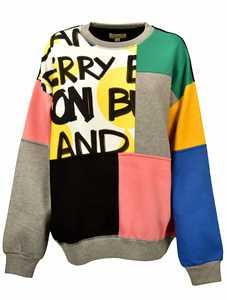 Picture of Burberry | Graffiti Print Panel Cotton Blend Sweatshirt