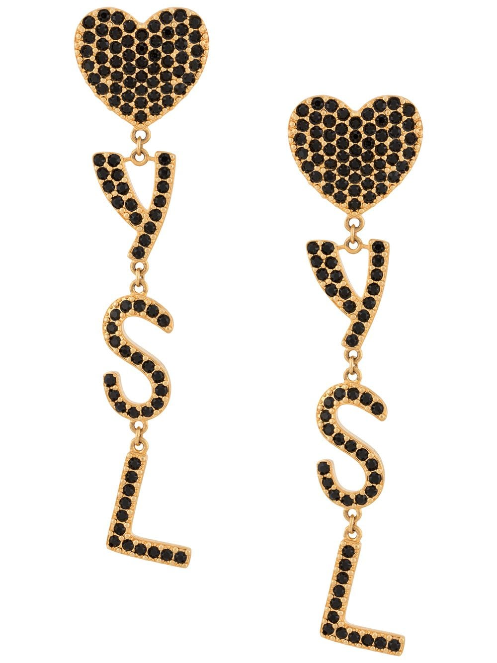 Picture of Saint Laurent   Crystal-Embellished Logo Clip-On Earrings