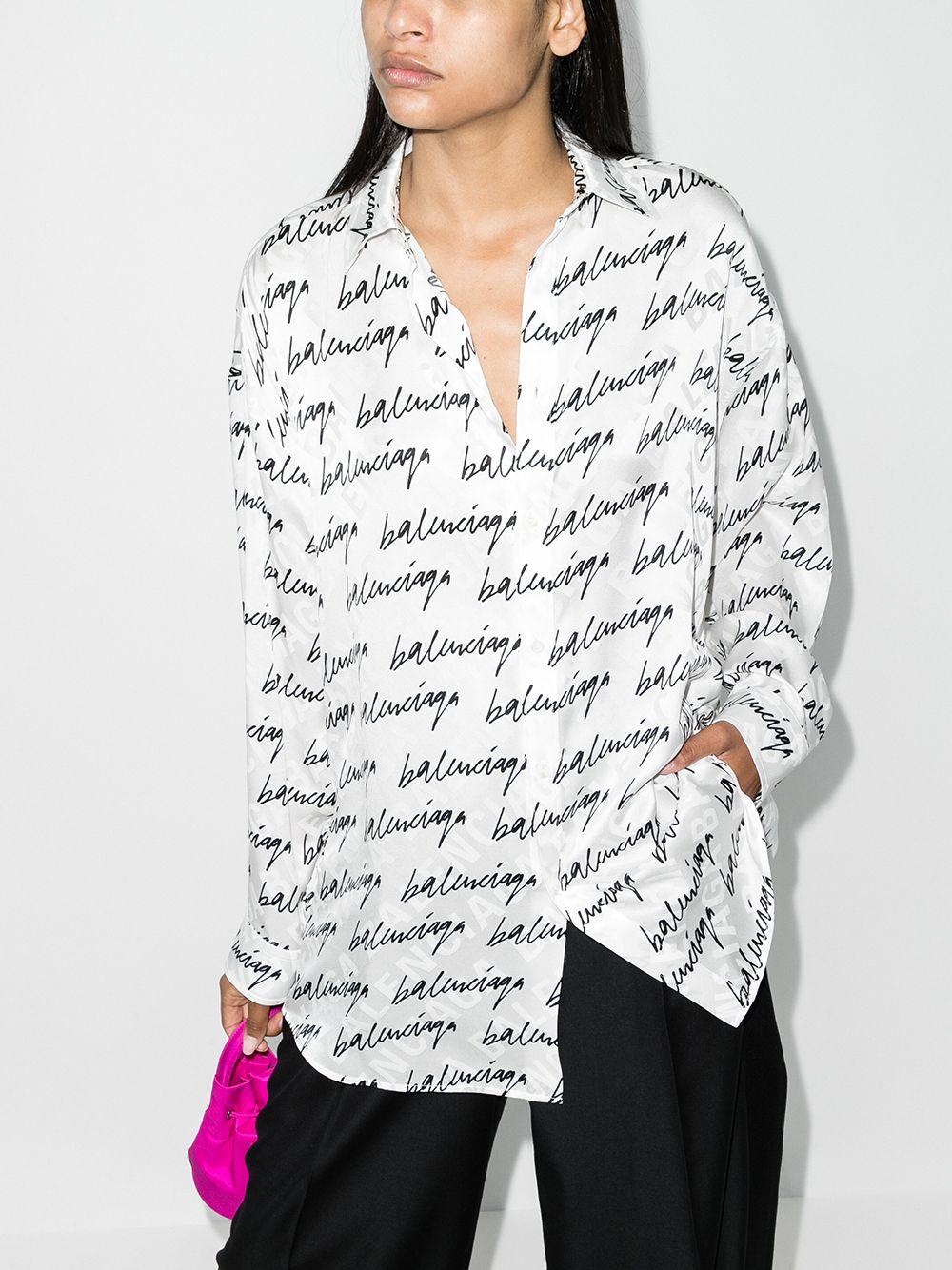 Picture of Balenciaga | All-Over Logo-Print Shirt