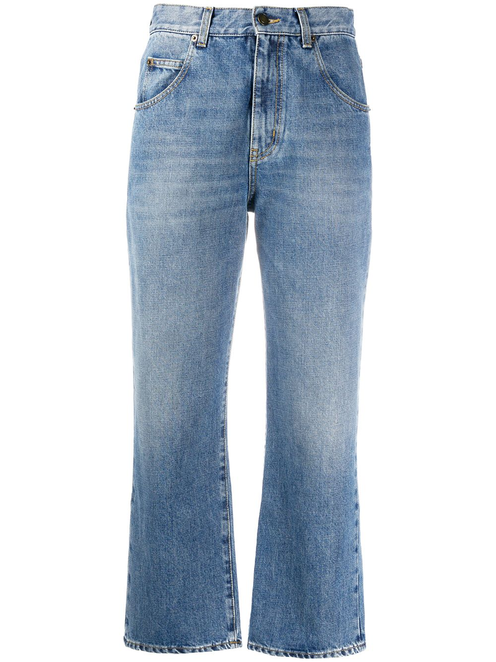 Picture of Saint Laurent | Cropped Mid-Rise Jeans