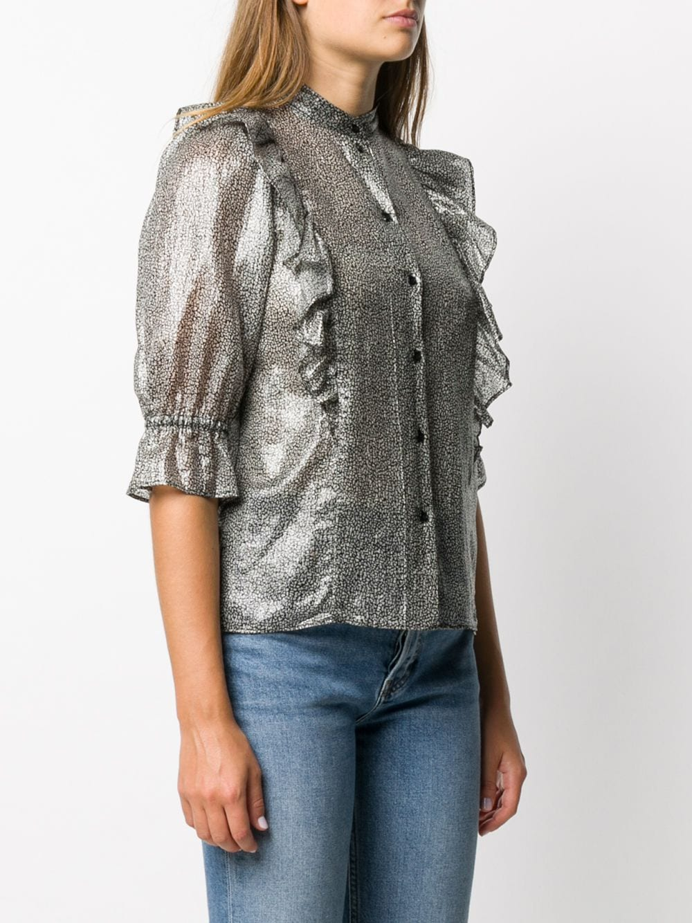 Picture of Saint Laurent | Metallic Puff Sleeves Blouse
