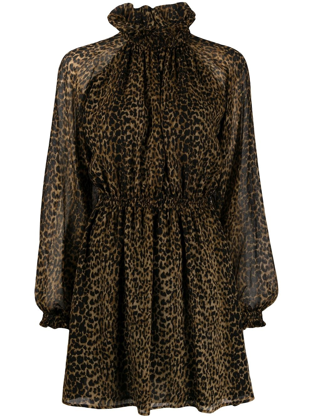 Picture of Saint Laurent | Leopard-Print Pleated Mini Dress