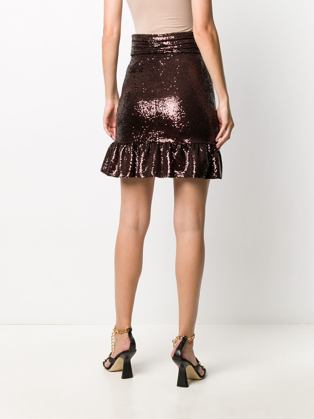 Picture of Brognano | Sequinned Fishtail Mini Skirt
