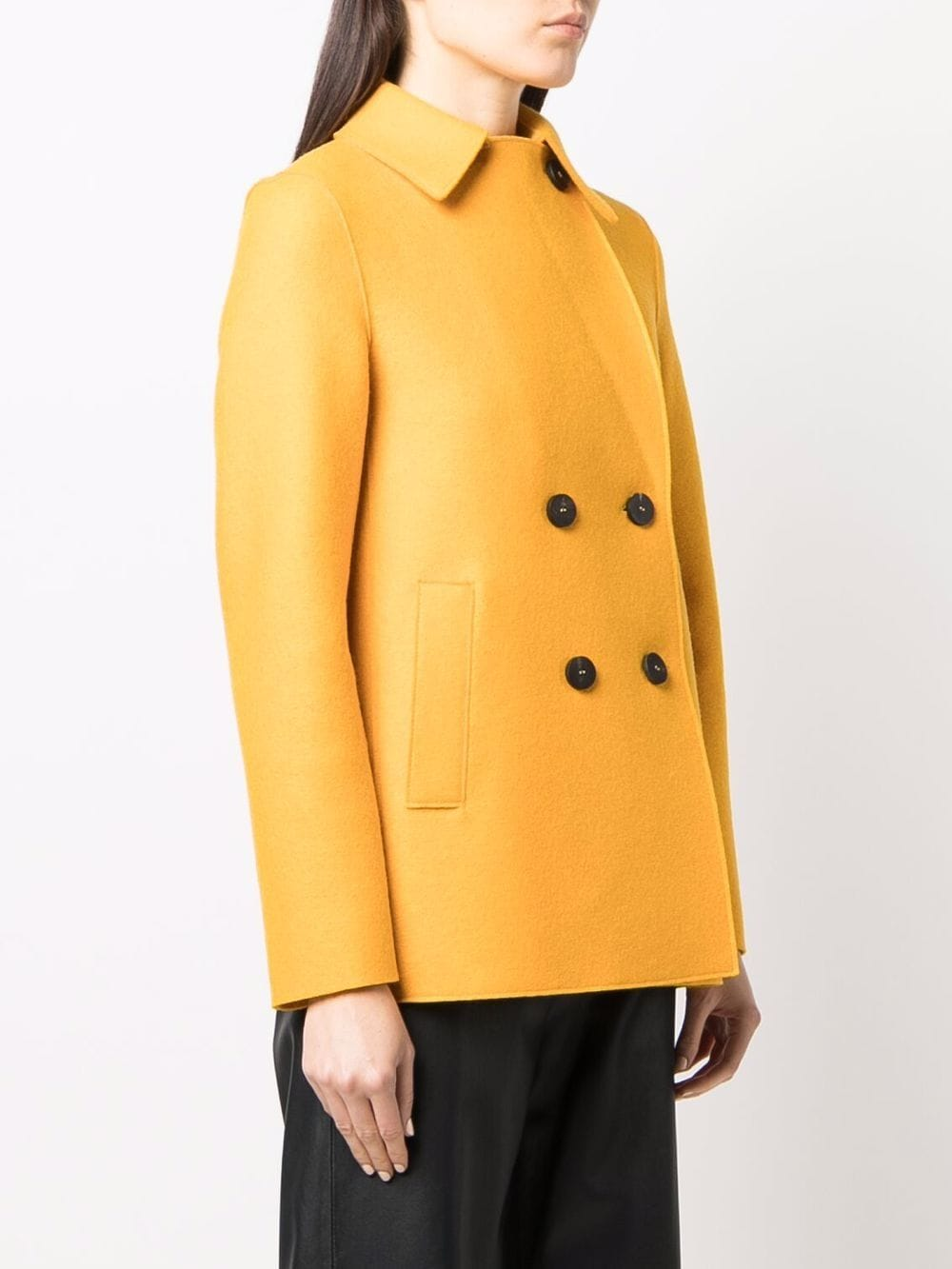 Picture of Harris Wharf London | Double-Breasted Wool Peacoat