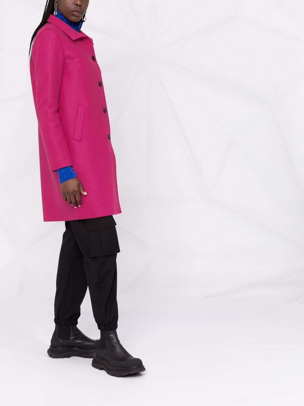 Picture of Harris Wharf London | Single-Breasted Funnel-Neck Coat