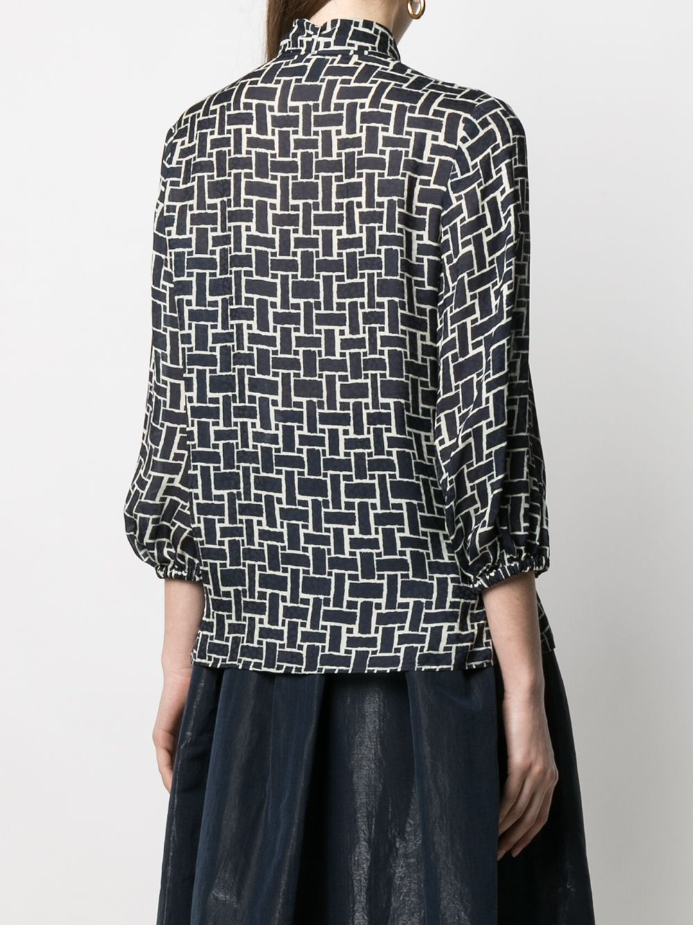 Picture of Aspesi | Geometric-Print Tie-Neck Blouse