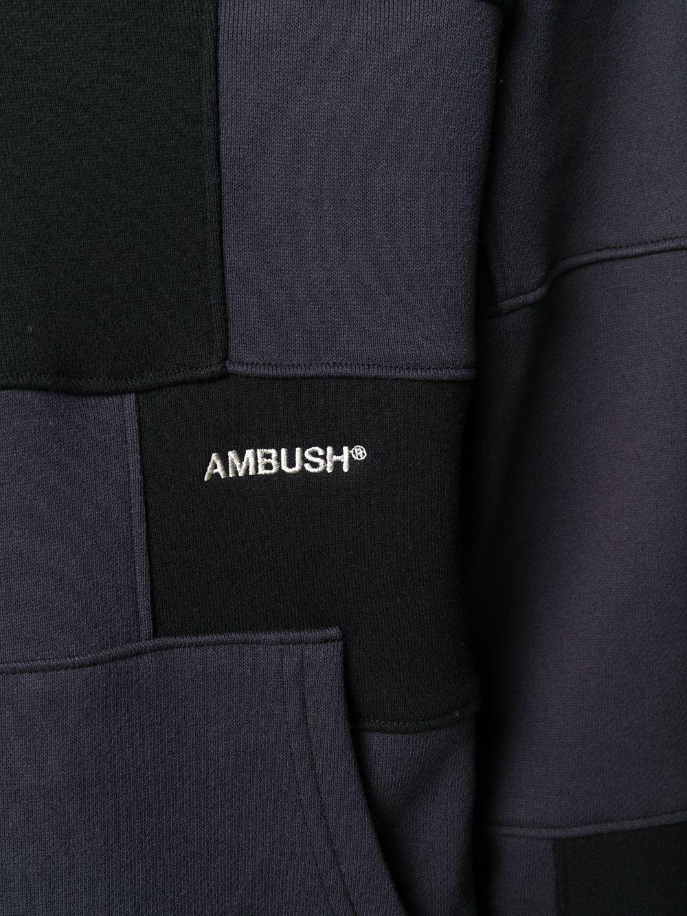 Picture of Ambush   Block Panelled Cotton Hoodie