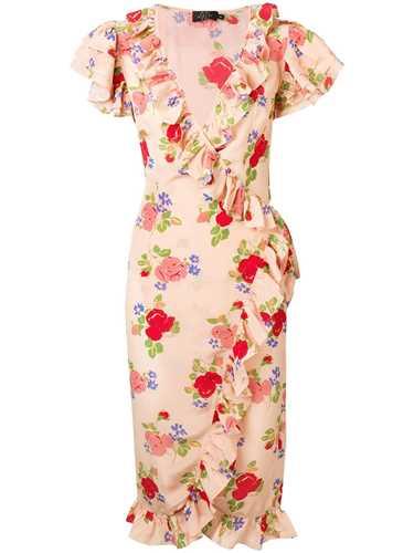 Picture of De La Vali | Floral Print Ruffle Dress