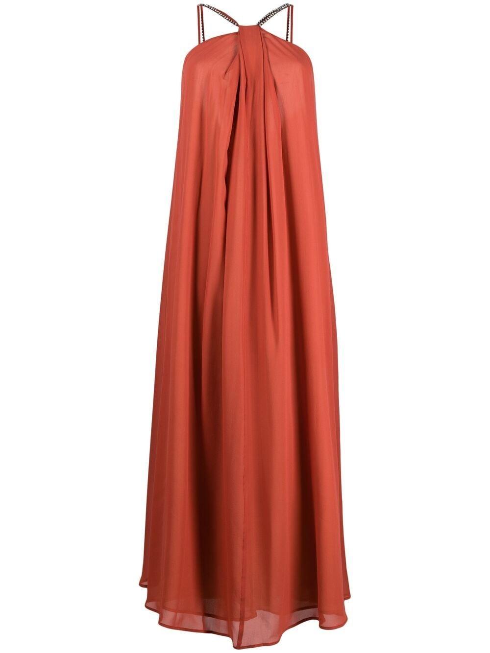Picture of Erika Cavallini | Rhinestone Strap Silk Maxi Dress