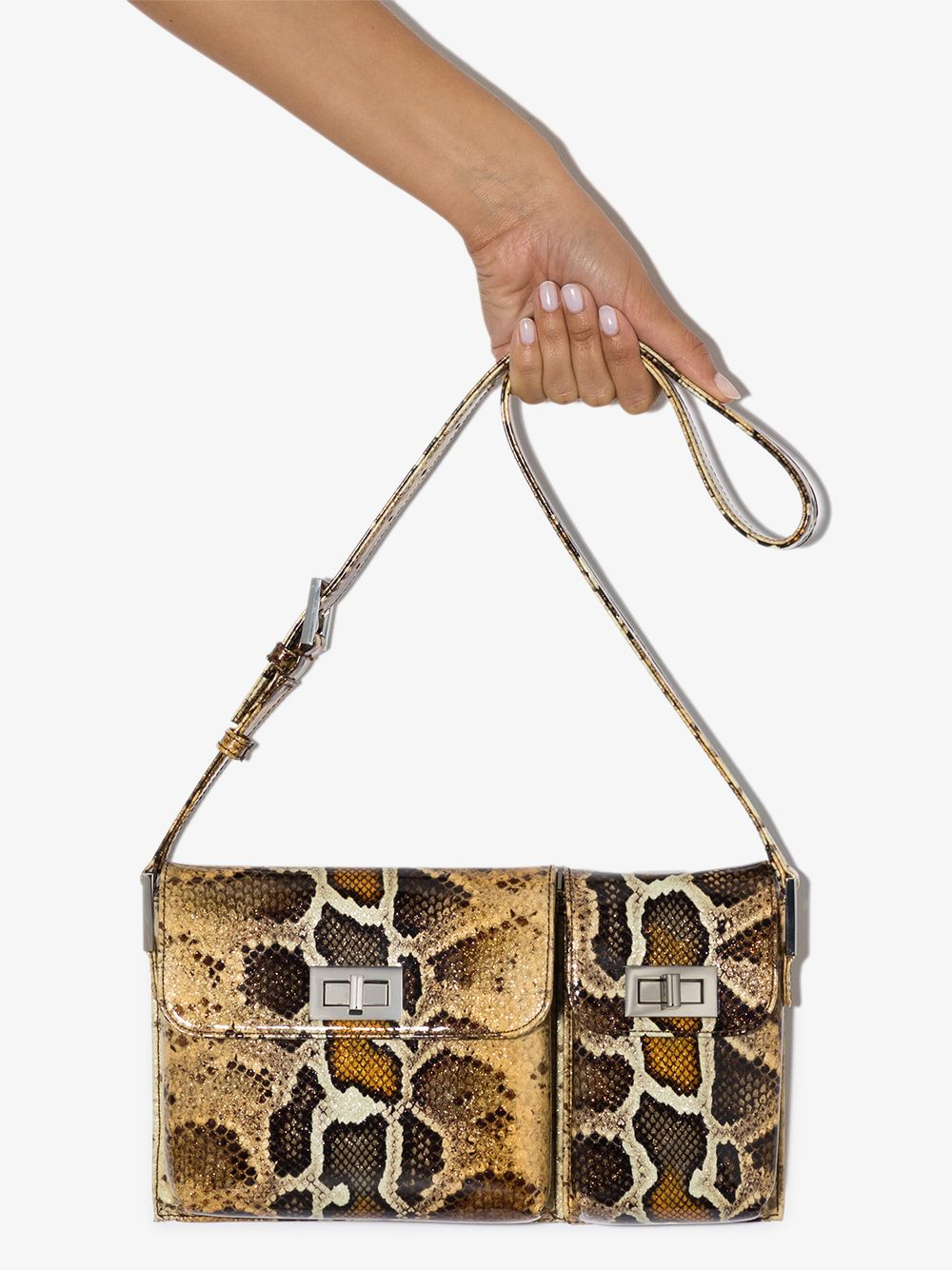 Picture of By Far | Billy Snake-Effect Leather Shoulder Bag