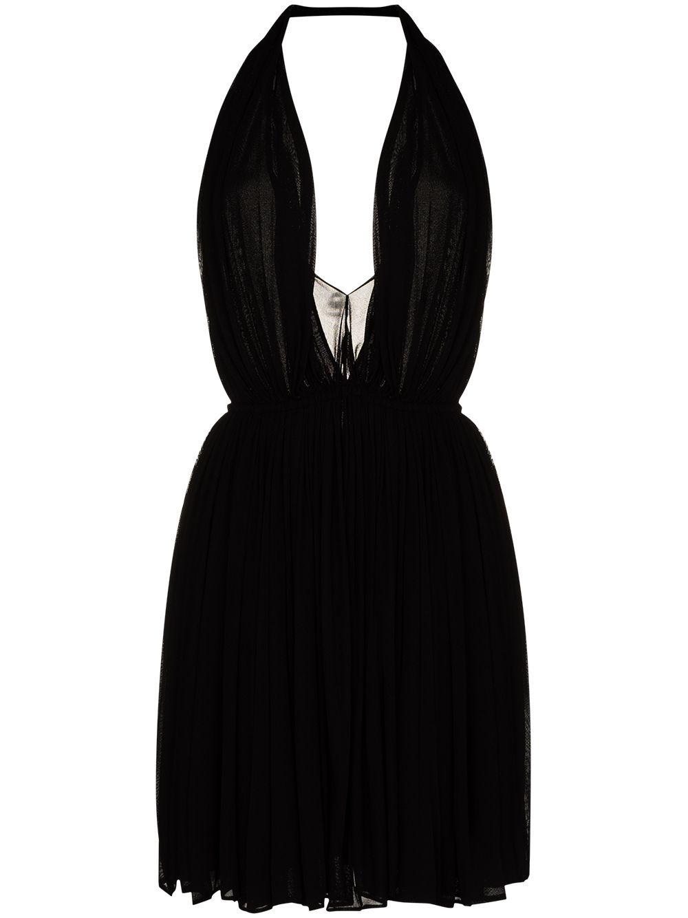 Picture of Saint Laurent   Halterneck Pleated Mini Dress