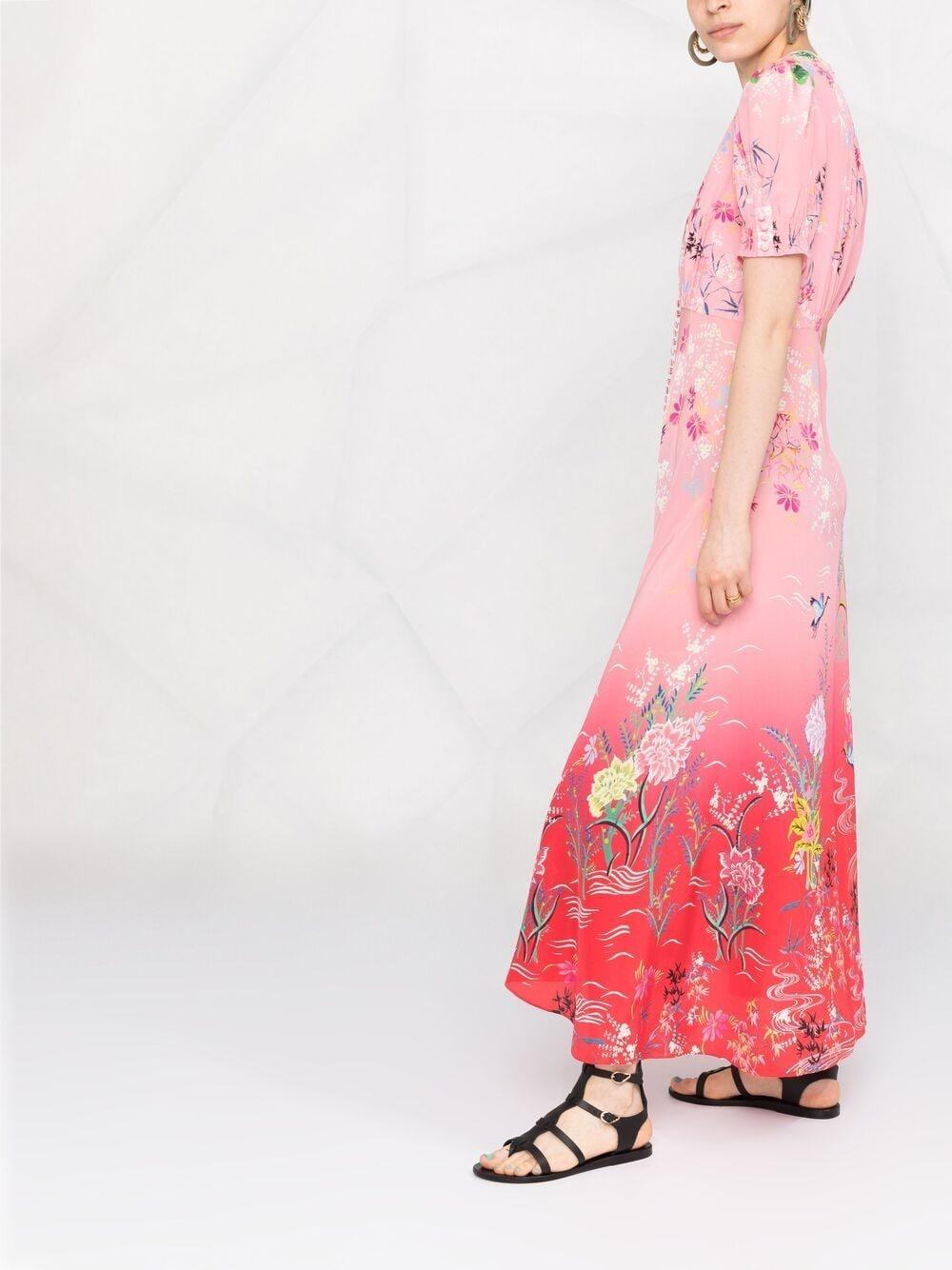 Picture of Saloni | Floral-Print Silk Dress
