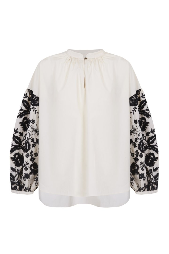 Picture of Psophia | Embroidered Balloon Sleeve Ivory Shirt