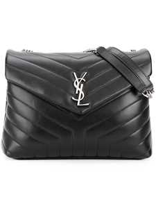 Picture of Saint Laurent | Black Loulou Leather Shoulder Bag