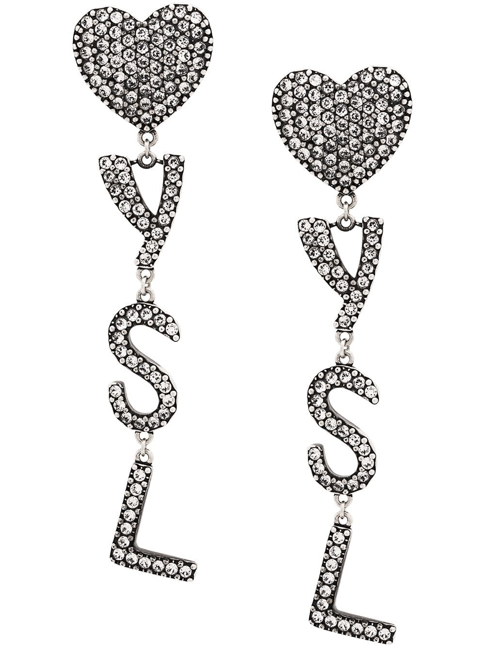 Picture of Saint Laurent | Crystal Embellished Logo Earrings