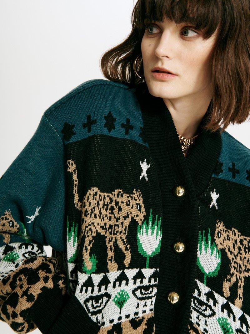Picture of Hayley Menzies | Leopardess Cotton Merino Bomber Jacket
