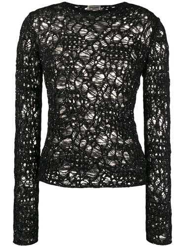 Picture of Saint Laurent | Sequinned Crochet Jumper