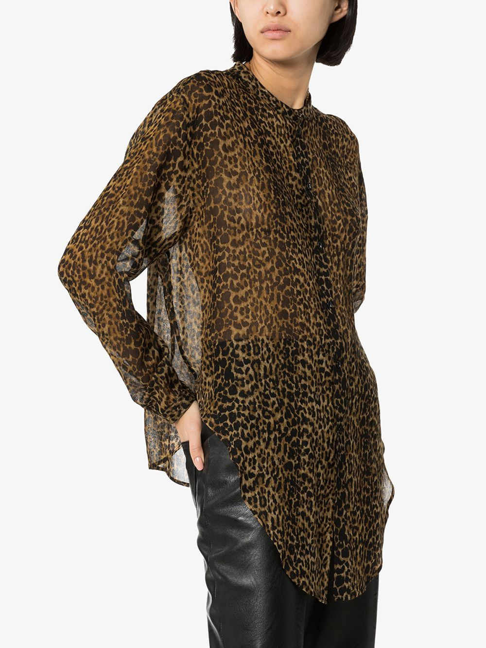 Picture of Saint Laurent | Leopard-Print Wool Shirt