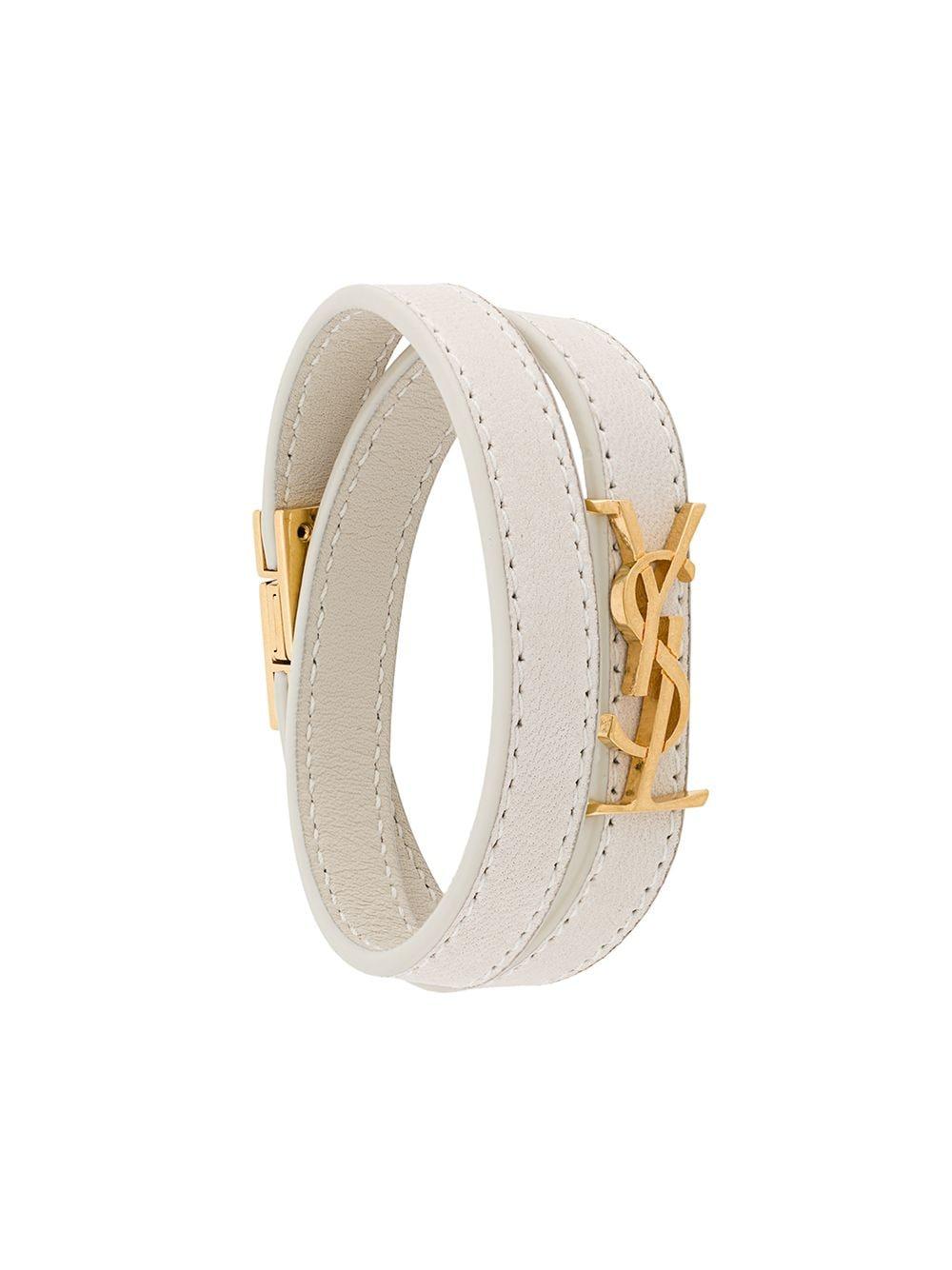 Picture of Saint Laurent | Logo Plaque Wrap-Around Bracelet