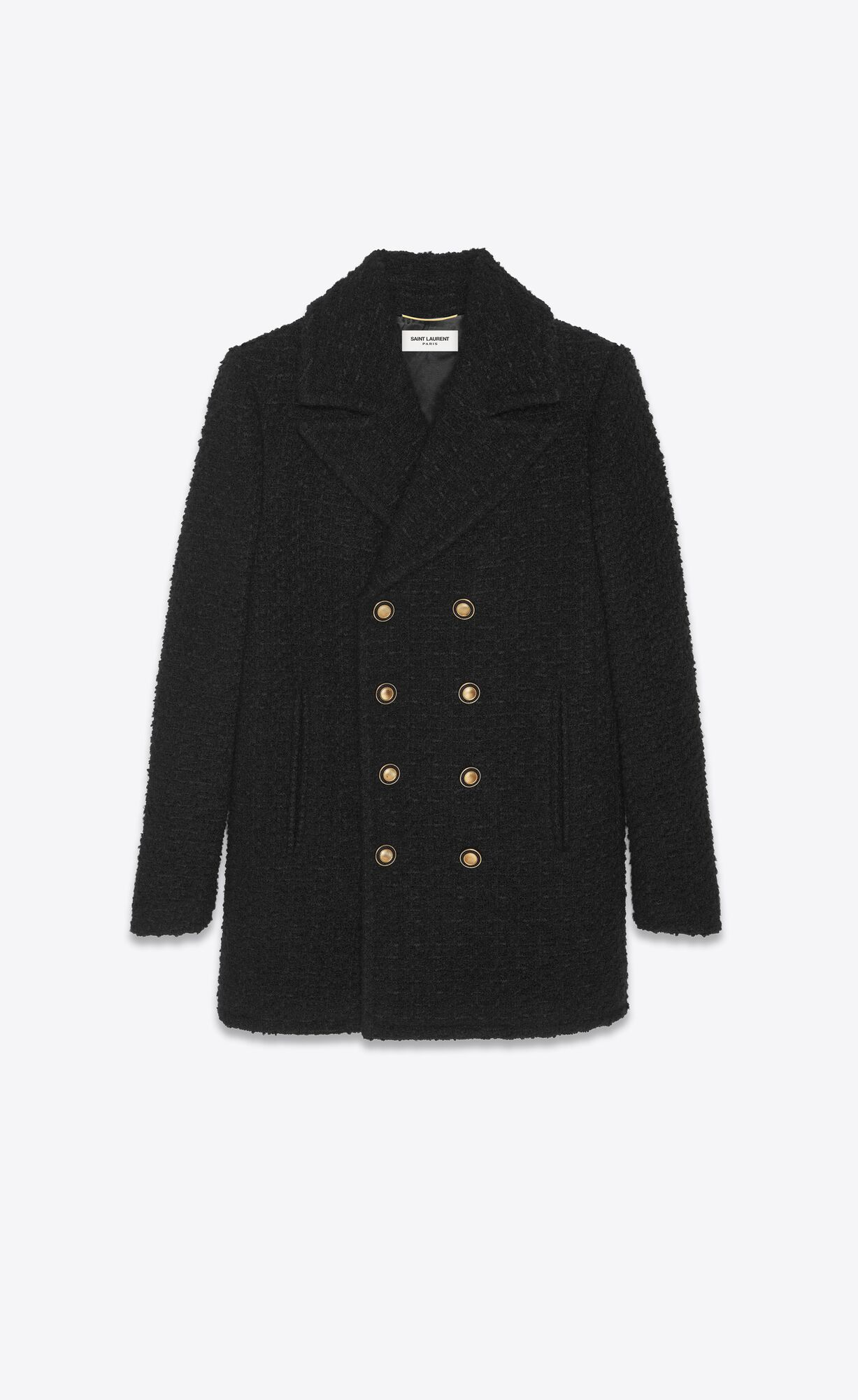 Picture of Saint Laurent | Double-Breasted Pea Coat In Tweed