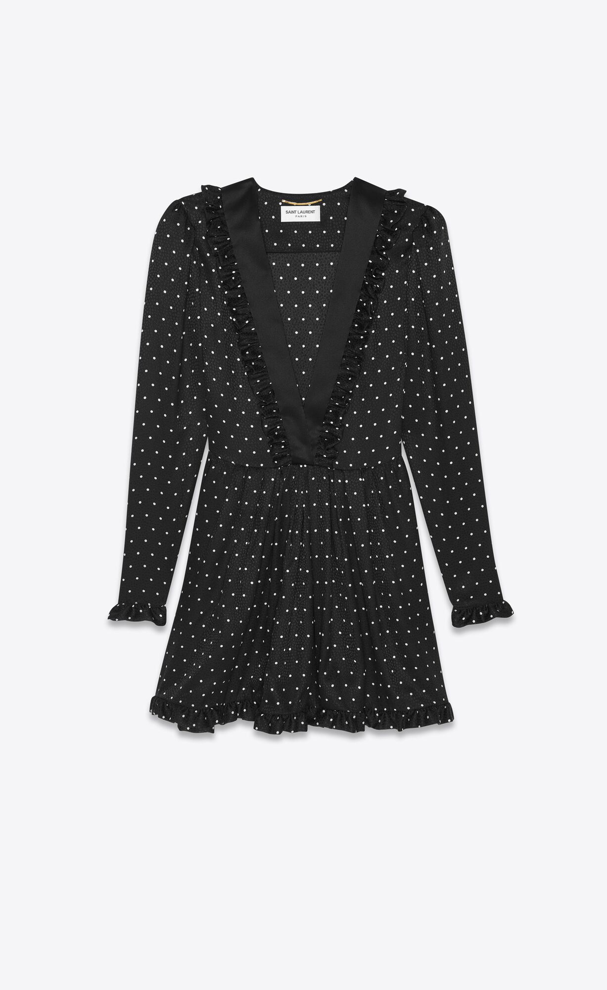 Picture of Saint Laurent   Dress In Matte And Shiny Dot-Print Silk