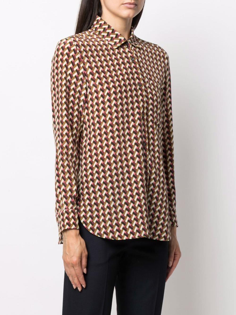 Picture of Aspesi | Geometric-Print Silk Shirt