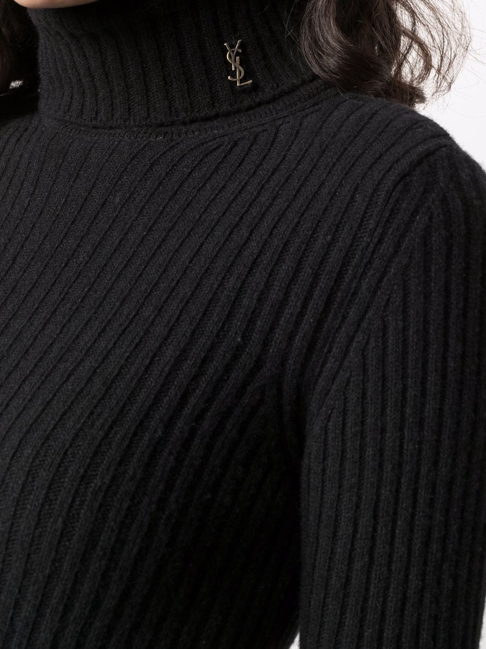 Picture of Saint Laurent | Roll-Neck Ribbed-Knit Jumper