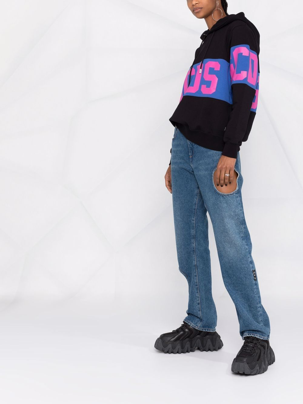 Picture of Gcds   Logo-Print Cotton Hoodie
