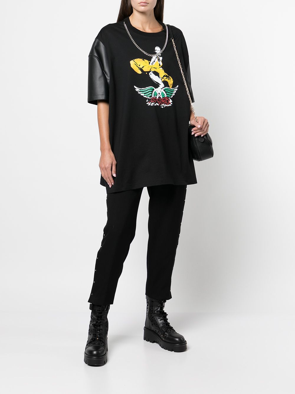 Picture of Junya Watanabe   Graphic-Print Contrast-Sleeve T-Shirt