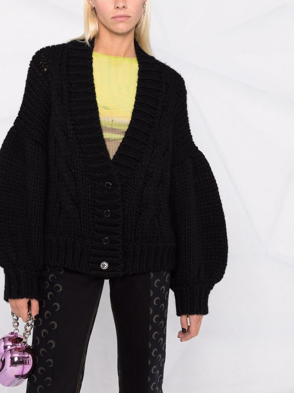 Picture of Gcds | Balloon-Sleeved Knitted Cardigan