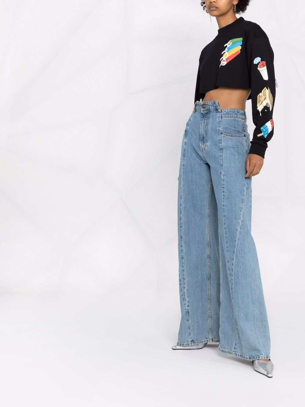 Picture of Gcds | Graphic-Print Cropped Sweatshirt