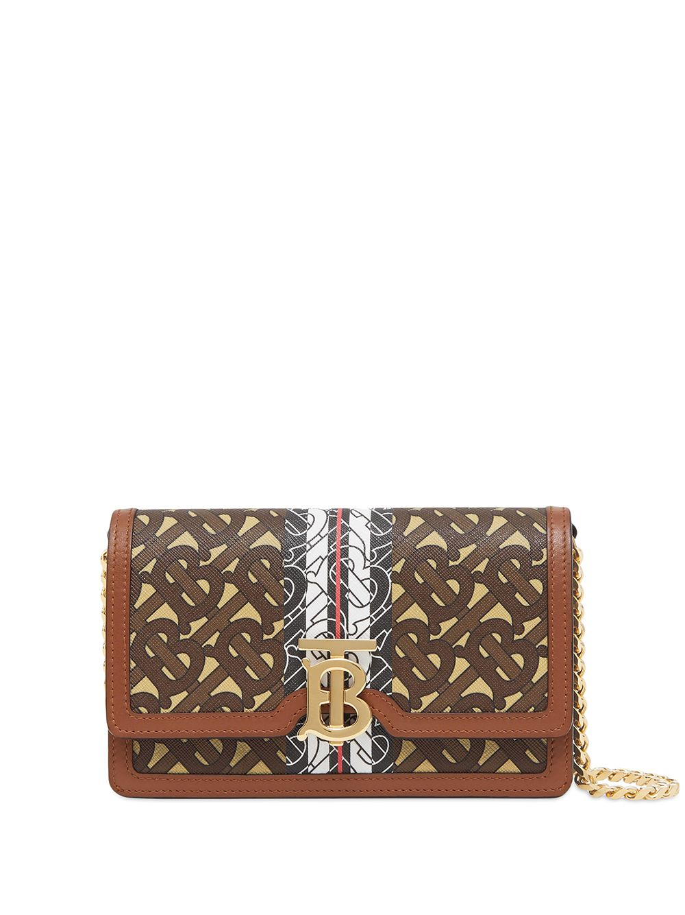 Picture of Burberry | Small Monogram Stripe Wallet On Chain