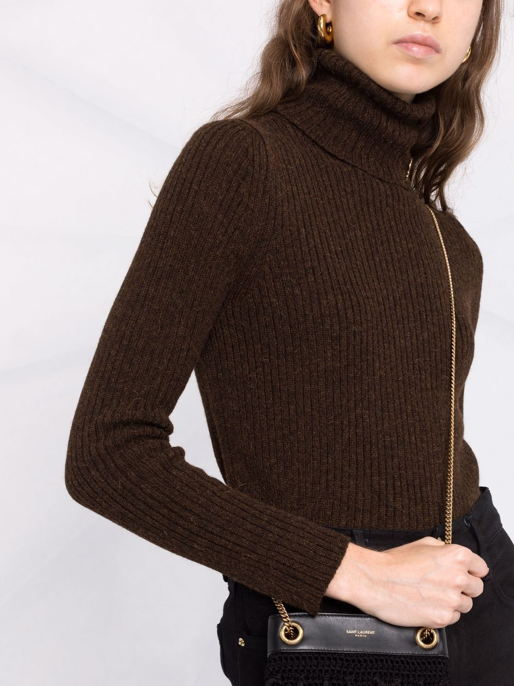 Picture of Saint Laurent   Ribbed-Knit Roll-Neck Jumper
