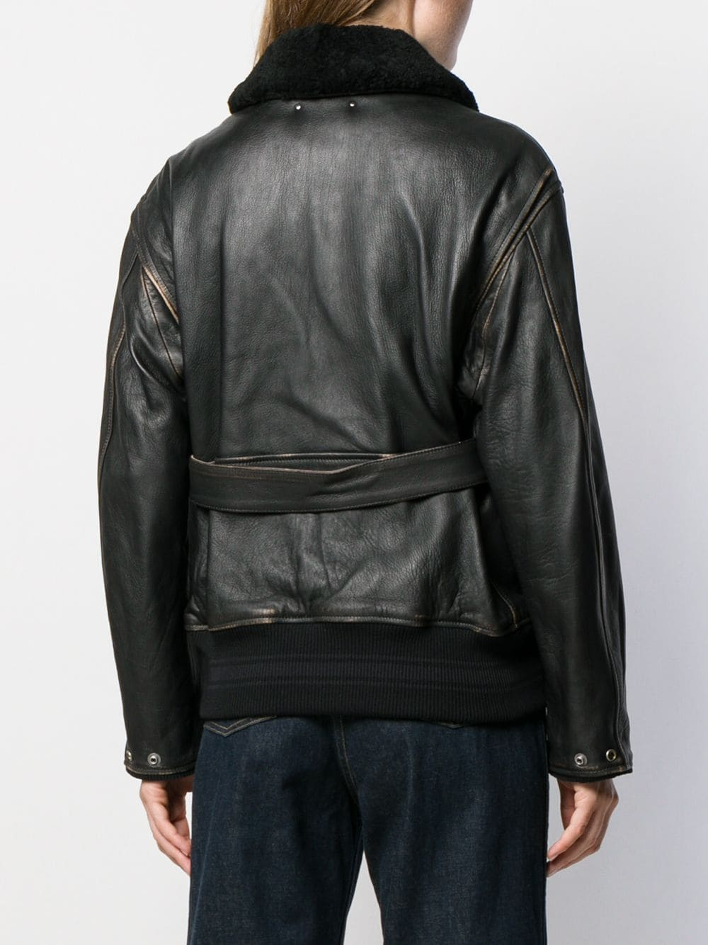 Picture of Golden Goose Deluxe Brand | Shearling Collar Belted Jacket