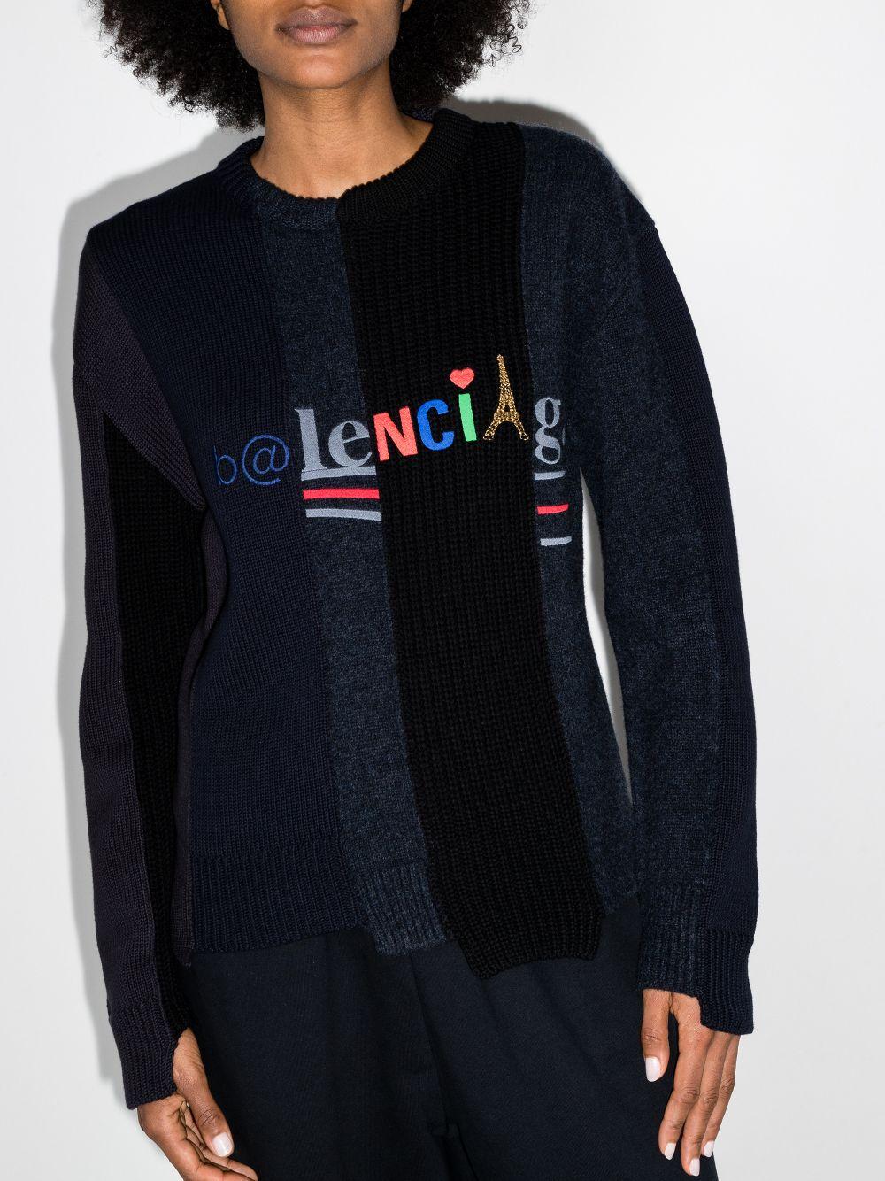 Picture of Balenciaga | Panelled Multi-Logo Jumper